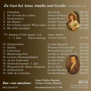 Zu Gast bei Anna Amalia und Goethe - Goethe Musik Shop - Inlay